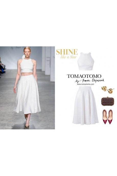 Top i spódnica biały cekin