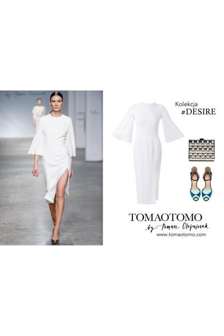 Sukienka biała z cekinowymi rękawami