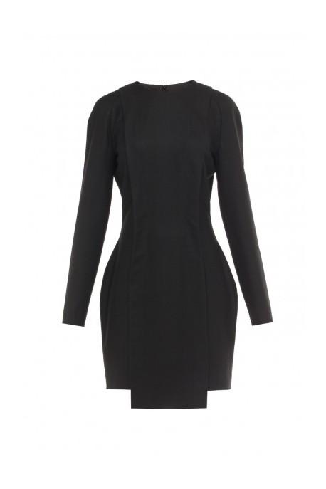 Asymetryczna sukienka z kaszmiru czarna
