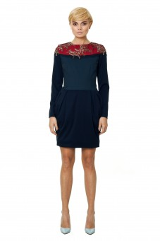Dark blue dress with Italian lace