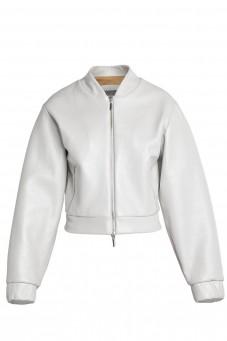 Biała skórzana kurtka bomber VERONIQUE