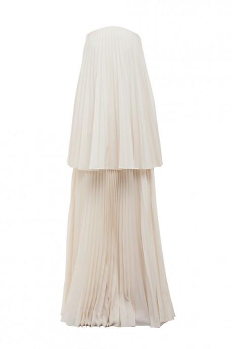 Dwuwarstwowa suknia w plisy ecru