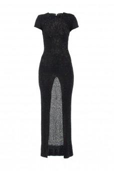 Suknia maxi z czarnych koralików