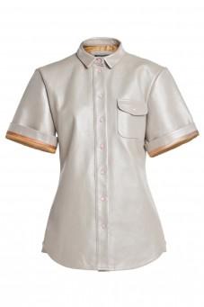 Skórzana koszula z krótkim rękawem VERONIQUE