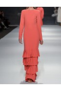 Coral gown with frills WONDERLAND