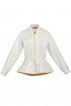 Biała skórzana kurtka z baskinką VERONIQUE