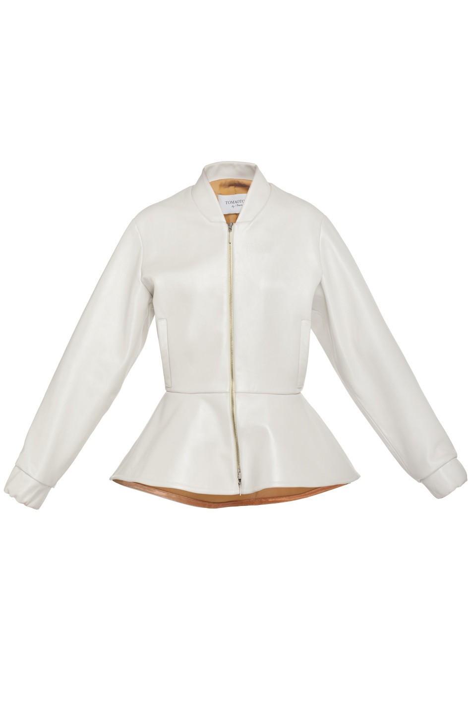 Aktualne Biała skórzana kurtka z baskinką VERONIQUE - TOMAOTOMO LC71