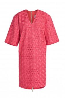 Raspberry boxy guipure dress