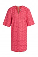 Raspberry boxy guipure dress