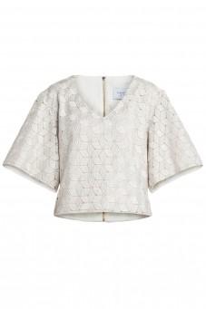 White boxy guipure blouse
