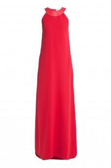 Czerwona suknia ze skórzanym dekoltem