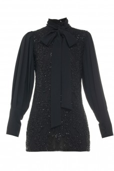 Black lace dress with pleated sleeves Wonderland