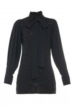 Black lace dress with pleated sleeves Wonderland