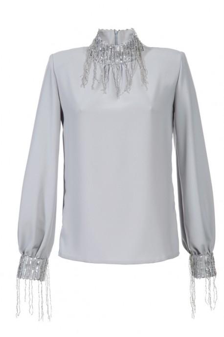 Bluzka szara ze srebrną stójką i mankietami Baroq&Roll