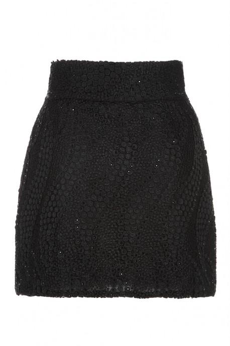 Spódnica mini czarna gipiura Baroq&Roll