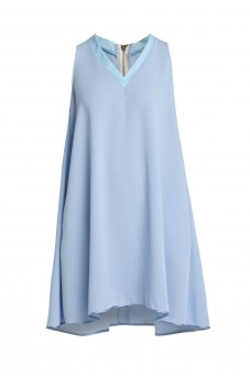 Sky-blue loose-fit sleeveless dress