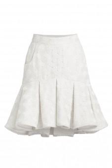 Biała spódnica kontrafałda z gipiury VERONIQUE