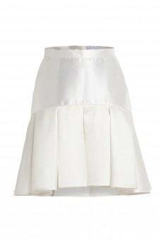 Biała spódnica żakardowa kontrafałda VERONIQUE