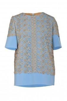 Błękitna bluza z gipiurą VERONIQUE