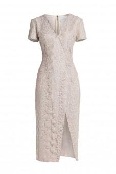 Sukienka z gipiury z rozcięciem na krótki rękaw