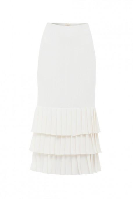 Biała spódnica midi z plisowaniem Wonderland