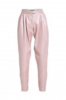 Różowe spodnie skórzane VERONIQUE