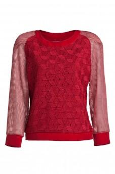 Bluza z czerwonej gipiury z rękawami z siatki