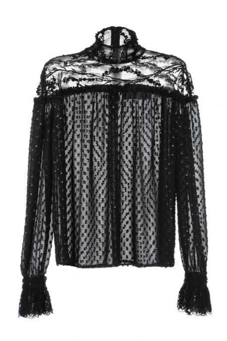 Koszula czarna z koronkową stójką PIANO-FORTE