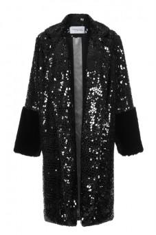 Płaszcz czarny ze sztucznego futra PIANO-FORTE