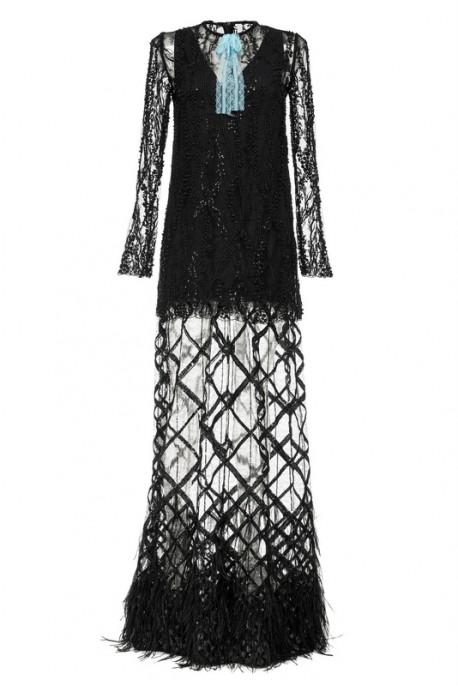Suknia czarna maxi PIANO-FORTE