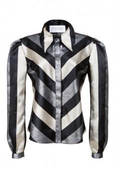 Koszula jedwabna w pasy PIANO-FORTE