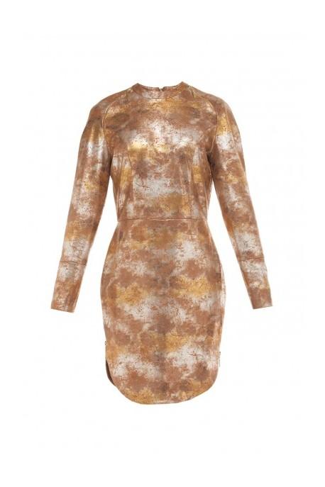 Sukienka skórzana z zamkami z boku złoto-brązowa