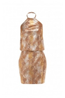 Leather halter dress PRE-FALL