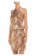 Sukienka skórzana z dekoltem halter złoto-brązowa