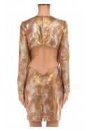 Sukienka skórzana midi złoto-brązowa