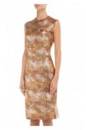 Sukienka skórzana bez rękawów złoto-brązowa