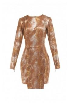 Sukienka z asymetrycznym przodem złoto-brązowa