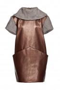 Sukienka miedziana z szalowym dekoltem THE ONE