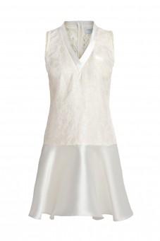 Biała sukienka z jedwabnego żakardu bez rękawów