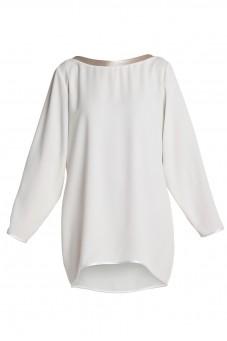 Biała luźna sukienka z długim rękawem