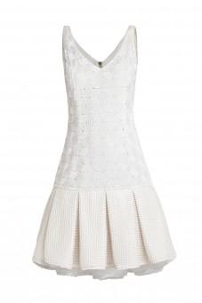 Biała sukienka na ramiączkach kontrafałda VERONIQUE