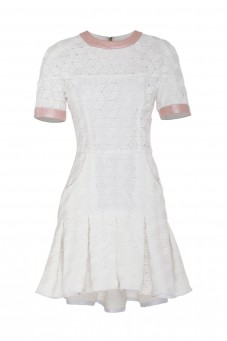 White pleated dress VERONIQUE