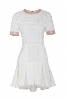 Biała sukienka kontrafałdy VERONIQUE