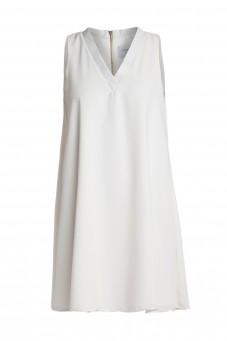 Biała luźna sukienka bez rękawów