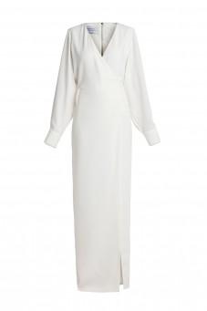Biała gładka suknia maxi