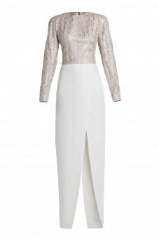 Suknia z długim rękawem gipiura/jedwab