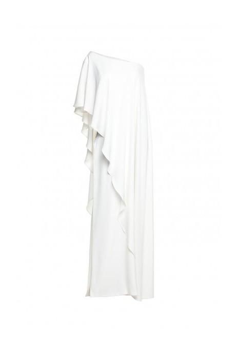 Suknia z asymetryczną falbaną