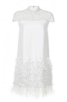 Sukienka biała ze stójką PIANO-FORTE