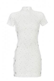 Sukienka biała mini ze stójką PIANO-FORTE