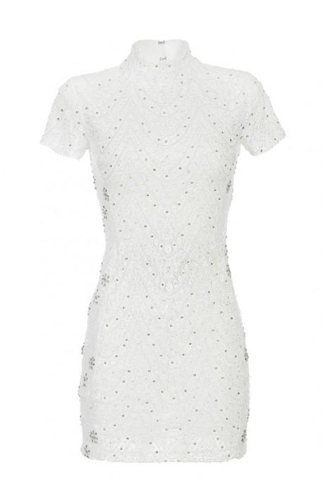 Biała sukienka mini ze stójką PIANO-FORTE